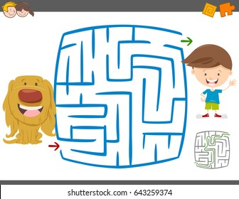Cartoon Vector Illustration of Education Maze or Labyrinth Leisure Activity with Kid Boy and his Puppy