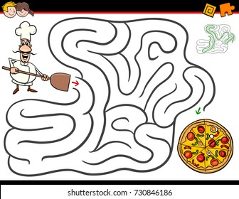 Cartoon Vector Illustration of Education Maze or Labyrinth Activity Game for Children with Chef Character and Pizza