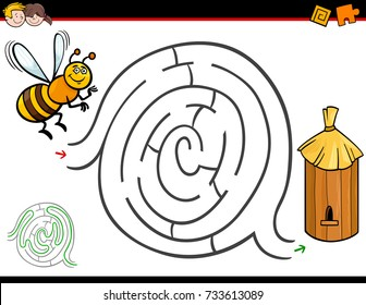 Cartoon Vector Illustration of Education Maze or Labyrinth Activity Game for Children with Bee Insect Character and Hive