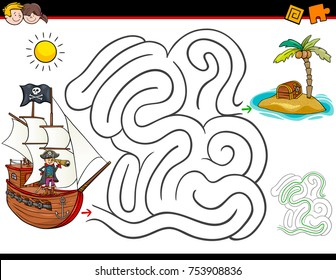 Cartoon Vector Illustration of Education Maze or Labyrinth Activity Game for Children with Pirate Character with Ship and Treasure Island
