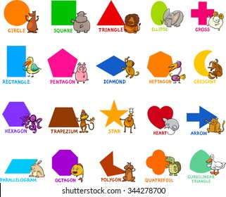 Cartoon Vector Illustration of Educational Basic Geometric Shapes for Preschool or Primary School Children with Animal Characters