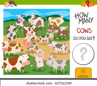 Cartoon Vector Illustration of Educational Counting Activity for Kids with Funny Cows Farm Animal Characters