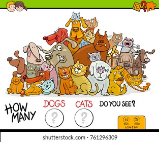 Cartoon Vector Illustration of Educational Counting Game for Children with Cats and Dogs Pet Characters Group