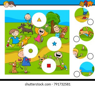 Cartoon Vector Illustration of Educational Match the Pieces Jigsaw Puzzle Game for Children with Happy Kids and Pets