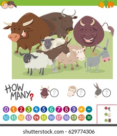Cartoon Vector Illustration of Educational Mathematical Activity Game of Counting Farm Animal Characters for Kids