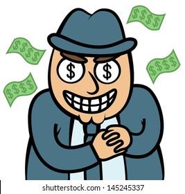 Cartoon vector illustration of evil money hungry man in suit, mafia, dealer, banker, loan shark, firm boss or politician