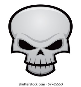 Cartoon vector illustration of an evil, stylized skull. Great for Halloween, pirate flags, warnings, etc.