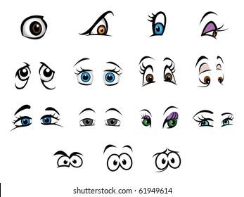cartoon vector illustration eyes collection