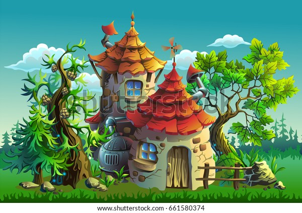 Cartoon vector illustration. Fairy tales house in the forest.