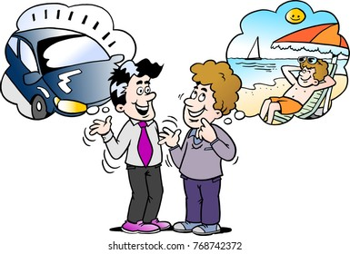 Cartoon Vector illustration of a family man there thinking about what to choose new auto car or vacation
