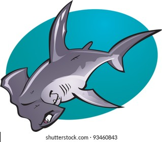 A cartoon vector illustration of the fearsome looking Deep water Hammer Head Shark. Part of a series of Various shark species.