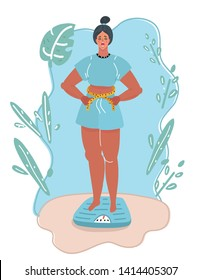 Cartoon vector illustration of Feet on scale. Weight loss and diet concept. Woman weighing herself. Measures her waist. Lady dieting. Weight gain and dietetics.