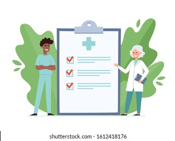 Cartoon vector illustration of female doctor and male nurse standing near big clipboard isolated on white. Medical service and small people with plant elements use for poster, hospital website