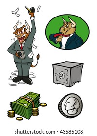 cartoon vector illustration of finance icons