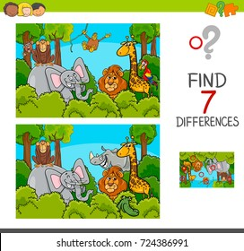 Cartoon Vector Illustration of Find the Differences Between Pictures Educational Activity Game for Children with Wild Animal Characters Group