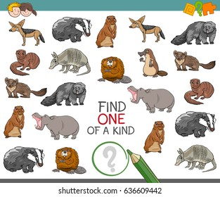 Cartoon Vector Illustration of Find One of a Kind Educational Activity for Children with Wild Animal Characters