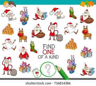 Cartoon Vector Illustration of Find One of a Kind Educational Activity Game for Children with Santa and Christmas Characters