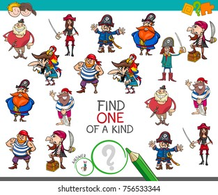Cartoon Vector Illustration of Find One of a Kind Educational Activity Game for Children with Pirates Comic Characters