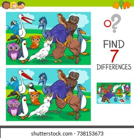 Cartoon Vector Illustration of Finding Differences Between Pictures Educational Activity Game for Children with Birds Animal Characters Group