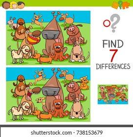 Cartoon Vector Illustration of Finding Differences Between Pictures Educational Activity Game for Children with Dogs Animal Characters Group