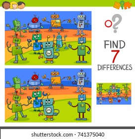 Cartoon Vector Illustration of Finding Differences Between Pictures Educational Activity Game for Kids with Funny Robot Characters Group