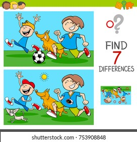 Cartoon Vector Illustration of Finding Differences Between Pictures Educational Activity Game with Funny Playful Children Characters with Dogs