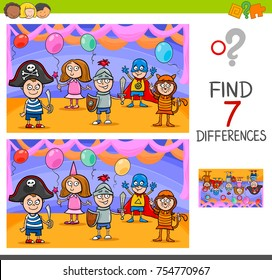 Cartoon Vector Illustration of Finding Differences Between Pictures Educational Activity Game with Playful Children Characters on Masked Ball