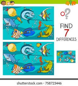 Cartoon Vector Illustration of Finding Differences Between Pictures Educational Activity Game with Fish Animal Characters in the Sea