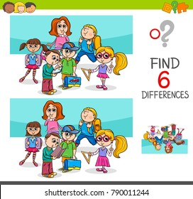 Cartoon Vector Illustration of Finding Eight Differences Between Pictures Educational Activity Game for Kids with School Children Characters Group