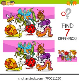 Cartoon Vector Illustration of Finding Seven Differences Between Pictures Educational Activity Game for Kids with Insects Animal Characters Group