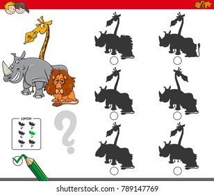 Cartoon Vector Illustration of Finding the Shadow without Differences Educational Activity for Children with Funny Wild Animal Characters