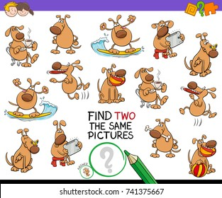 Cartoon Vector Illustration of Finding Two Identical Pictures Educational Activity Game for Children with Funny Dog Characters