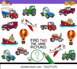 Cartoon Vector Illustration of Finding Two Identical Pictures Educational Activity Game for Children with Transport Vehicle Characters