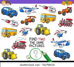 Cartoon Vector Illustration of Finding Two Identical Pictures Educational Game for Children with Transport Vehicle Characters