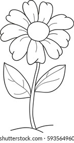 Cartoon vector illustration of a flower, coloring book.