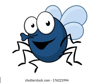 Cartoon vector illustration of a flying fly insect with a proboscis and a happy smile