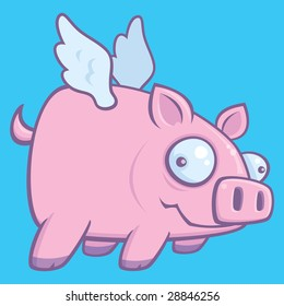 Cartoon vector illustration of a flying pig.