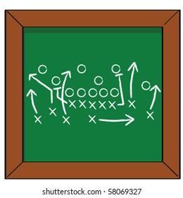 Cartoon vector illustration of a football game plan on a blackboard