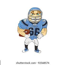 cartoon vector illustration of an football player American