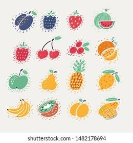 Cartoon vector illustration of Forest berry. Sweet fruit. plum, blackberry, strawberry, watermelon, raspberry, cherry, cranberry, orange, apple, pear, pineapple, lemon, banana, kiwi, peach, mango