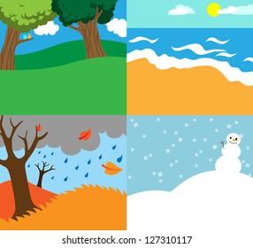Cartoon vector illustration of four seasons, nature background templates