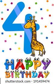 Cartoon Vector Illustration of the Fourth Birthday Anniversary Design for Children