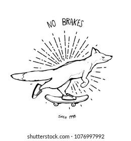 Cartoon vector illustration -fox riding a skateboard
