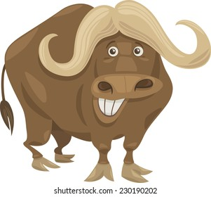 Cartoon Vector Illustration of Funny African Buffalo Animal Character