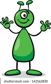 Cartoon Vector Illustration of Funny Alien or Martian Comic Character with One Eye