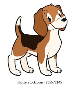 Cartoon vector illustration of a funny beagle for design element