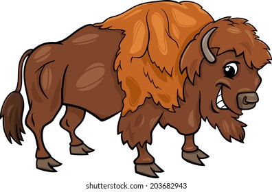 Cartoon Vector Illustration of Funny Bison or American Buffalo Wild Animal