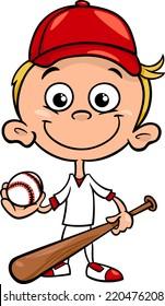 Cartoon Vector Illustration of Funny Boy Baseball Player with Bat and Ball