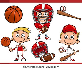 Cartoon Vector Illustration of Funny Boy with American Football and Basketball and Baseball Sport Equipment