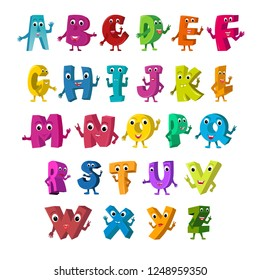 Cartoon Vector Illustration of Funny Capital Letters Alphabet for Children Education